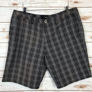 Hurley Shorts - Hurley Flat Front Plaid Shorts Sz38